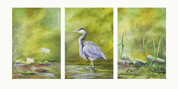 Giclee - Wading Heron Triptych