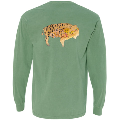 Long Sleeve Pocket Tee - The Buffalo Trout on Light Green