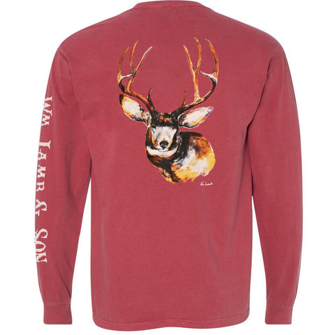 Long Sleeve Pocket Tee - The Mule Deer on Brick
