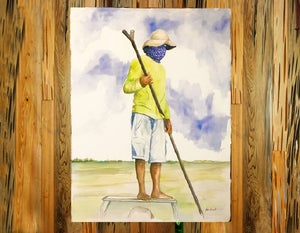 Original Watercolor - The Pole-man