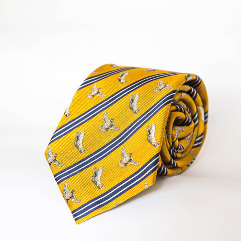 Neck Tie - Flushing Quail (Burnt Orange/Navy)
