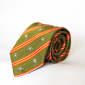 Neck Tie - Flushing Mallard (Olive Green/Red)