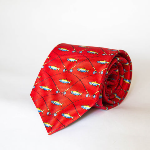 Neck Ties - Tarpon & Rod (Red)