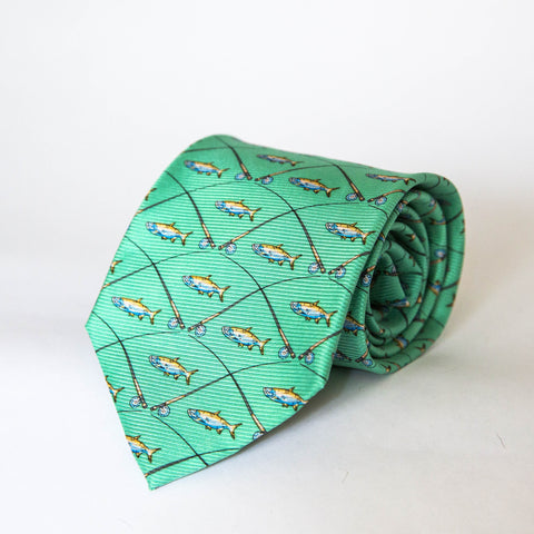 Neck Ties - Tarpon & Rod (Green)
