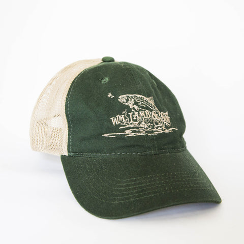 Ball Cap - Flying Trout Green/Tan Mesh