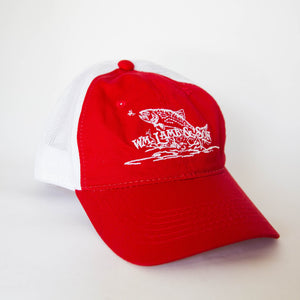 Ball Cap - Flying Trout Red/White Mesh