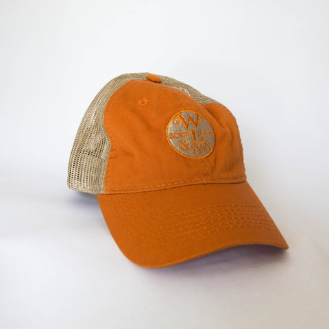 Ball Cap - Burnt Orange/Tan Mesh w/ The Seal