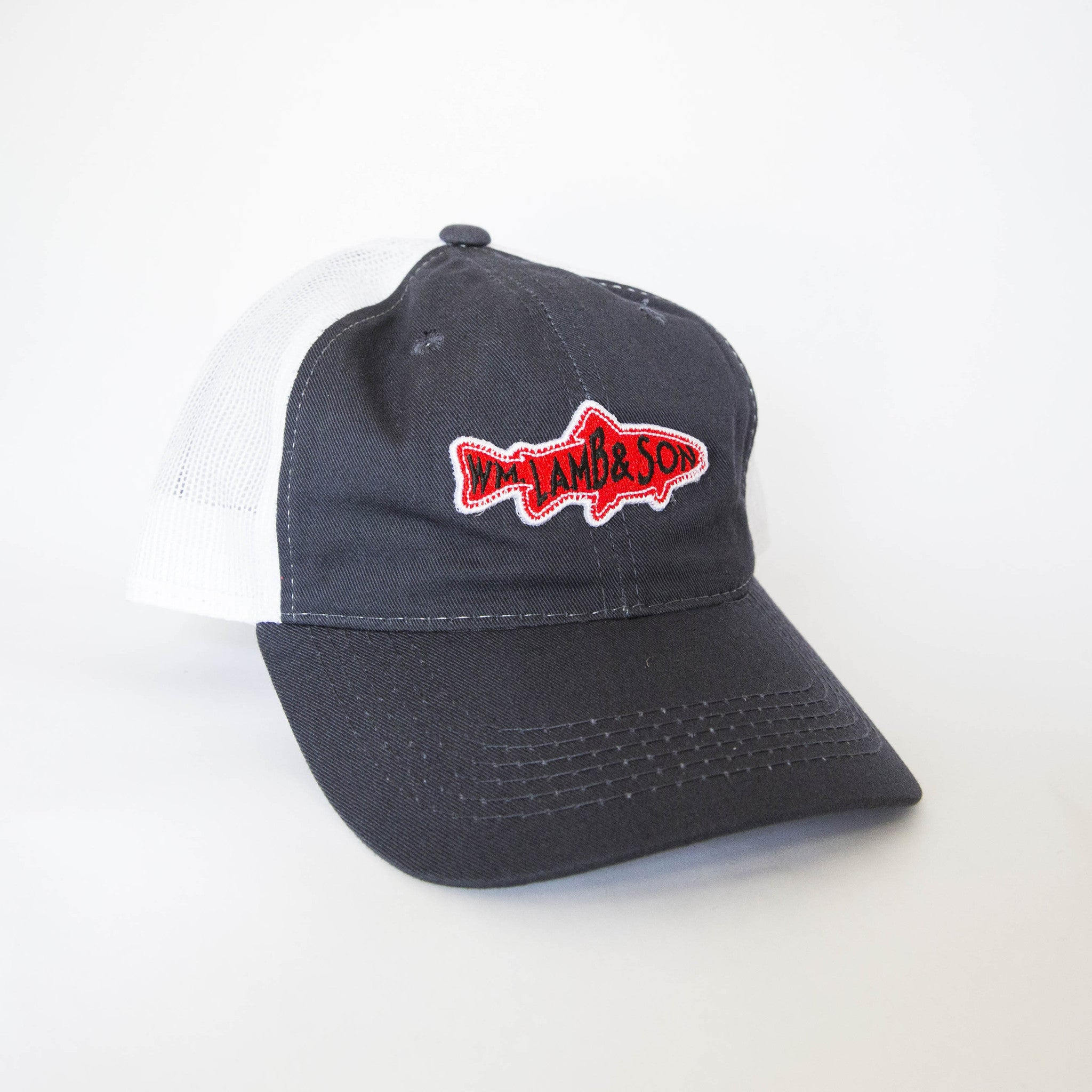 Ball Cap - Fish Patch Navy/White Mesh