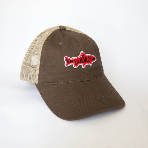 Ball Cap - Fish Patch Brown/Tan Mesh