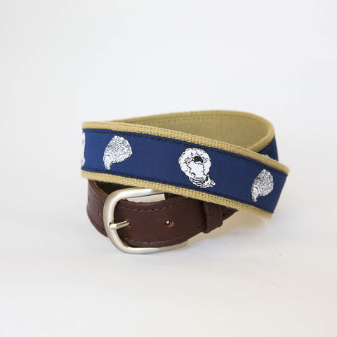 Leather Ribbon Belt - Navy Blue Oyster