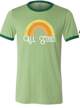 The All Good Rainbow Tee - Heather Green/Forest