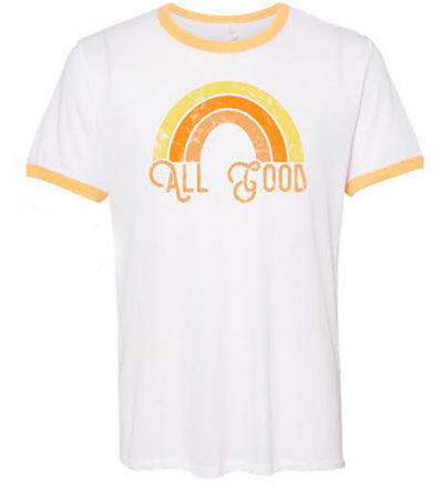 The All Good Rainbow Tee - White/Maize