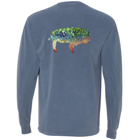 Long Sleeve Pocket Tee - The Buffalo Trout on Blue Jean