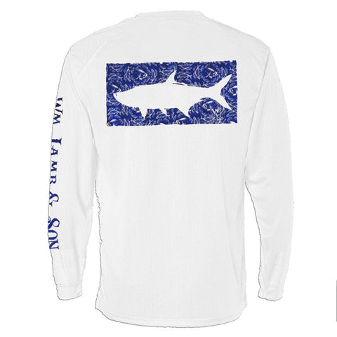 Long Sleeve Pocket Tee - The Grand Slam Tarpon in Blue on White