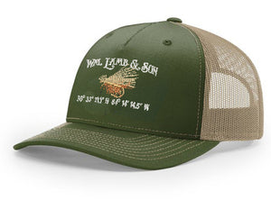 Ball Cap - Structured Elk Hair Caddis Coordinates on Olive Green/Tan Mesh