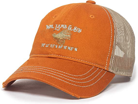 Ball Cap - Unstructured Elk Hair Caddis Coordinates on Burnt Orange/Tan Mesh