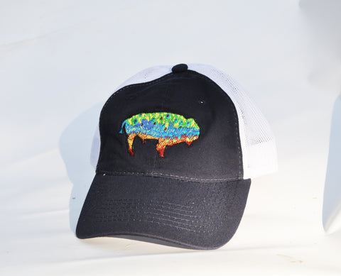 Ball Cap - Buffalo Trout on Navy/White Mesh