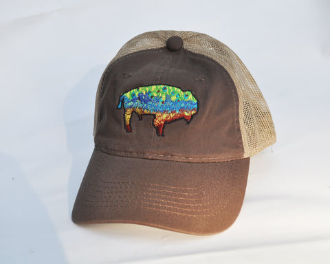 Ball Cap - Buffalo Trout on Brown/ Tan Mesh