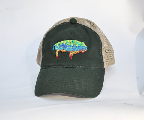 Ball Cap - Buffalo Trout on Green/ Tan Mesh
