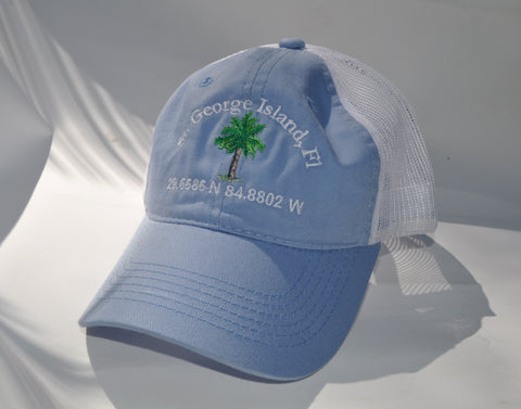 Ball Cap - St. George Island Palm Tree on Light Blue/White Mesh