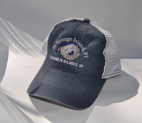 Ball Cap - St George Island Oyster on Washed Blue/White Mesh