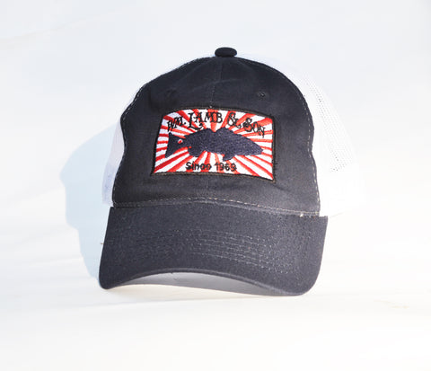 Ball Cap - Sunburst on Navy/White Mesh