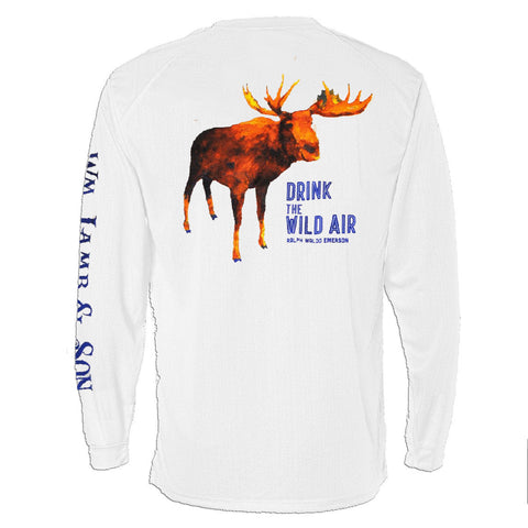 Long Sleeve Pocket Tee - The Moose Tee on White