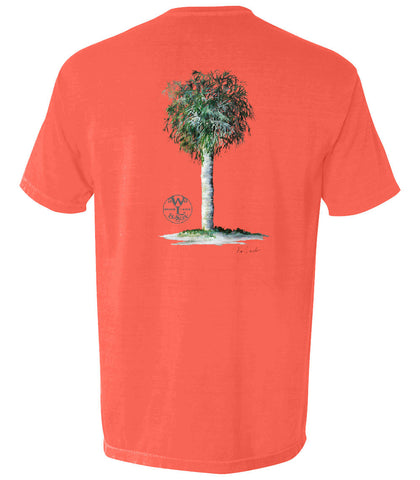 The Palm Tree Tee (Bright Salmon)- The Coastal Collection