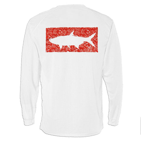 Long Sleeve Pocket Tee - The Grand Slam Tarpon in Red on White