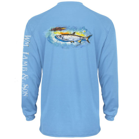 Performance Tee - Tarpon & Fly on Columbia Blue