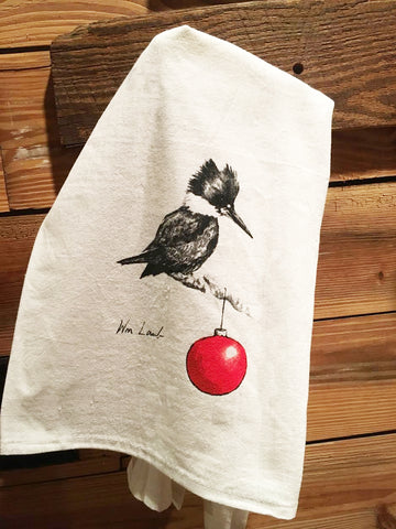 Christmas Kingfisher Dish Towel