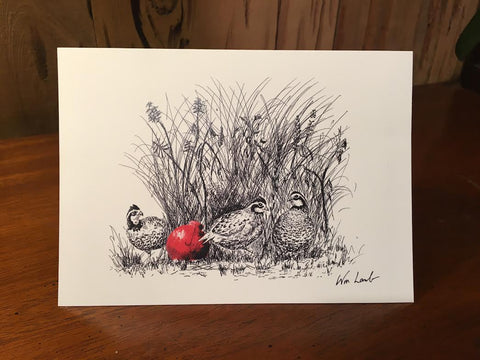 Notecards - Christmas Quail Covey