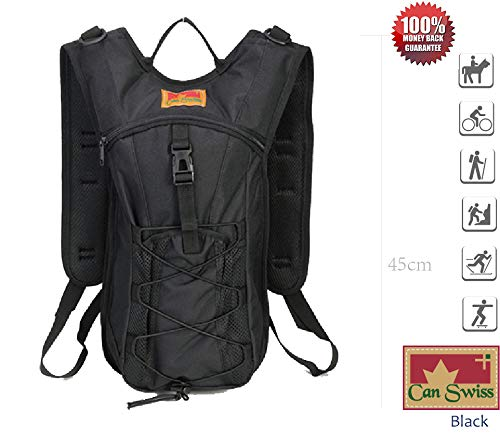 In-USA Shipping: Can Swiss Backpack Hiking Day Pack Lightweight Backpack Compact Design (Black): Sports & Outdoors