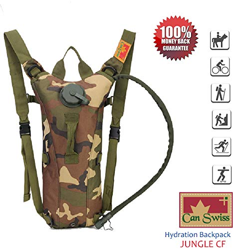 In-USA: CAN SWISS Hydration Pack with 3L 100 oz Water Bladder Water Backpack Lightweight for Hiking Camping Climbing Cycling Other Sports Outdoor Activities (Jungle CF) : Sports & Outdoors