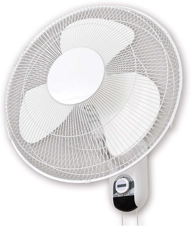 "Oscillating Wall Mounted Fan 406mm (16"") - 3 Speed - inc Remote Control - Grow Power Hydroponics"