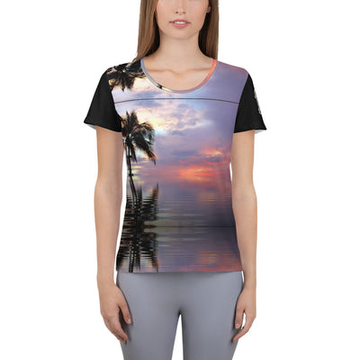 "The Barbershop ""Sunset"" Women's Athletic T-shirt"