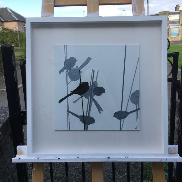 Why do you do black and white paintings of birds using silhouettes?