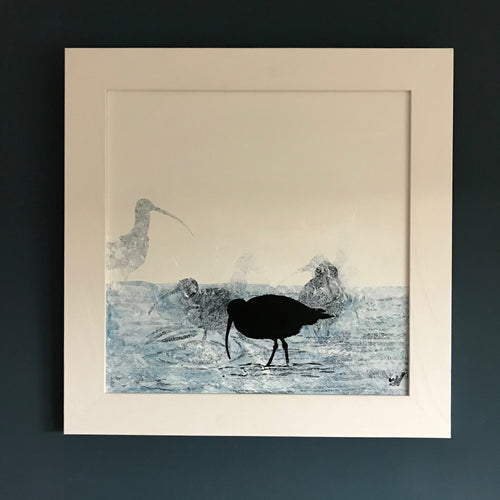 PAINTING: curlew on the shoreline 40x40cm
