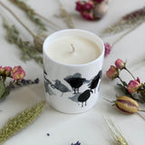 CANDLE: REDSHANK BIRD DESIGN hand poured soy wax scented (Lime, Basil & Mandarin and unscented)