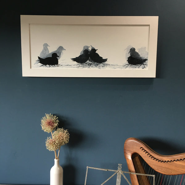 PAINTING: kittiwakes on nests III 30x70cm