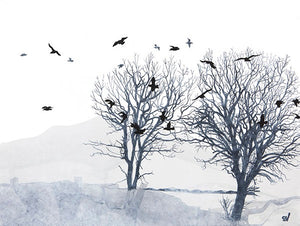 tree and gulls print by Sandra Vick