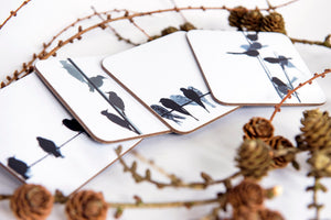 "COASTERS :  4 ""Pentlands"" bird designs - swallow, starling, woodpecker and long-tailed tit"