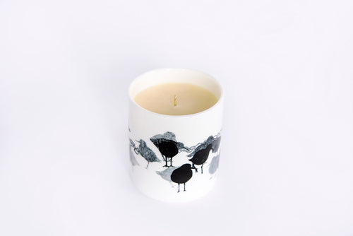 CANDLE: REDSHANK BIRD DESIGN hand poured soy wax scented (Lime, Basil & Mandarin; Tiare Flower & Vanilla,) and unscented