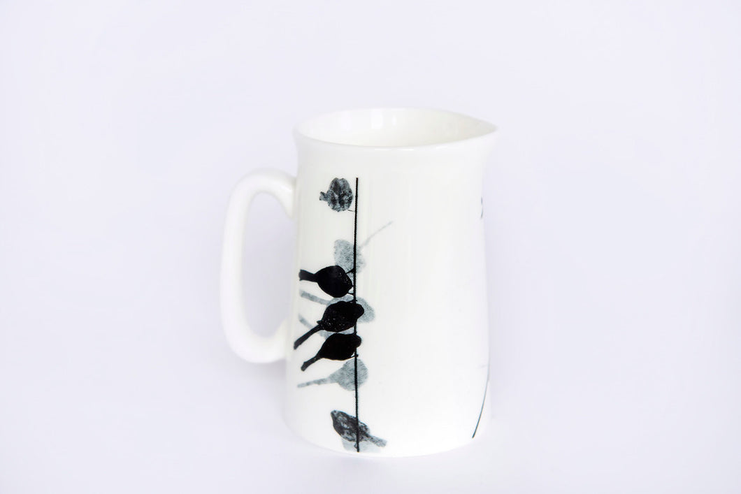 JUG: LONG-TAILED TIT bone china jug - SMALL