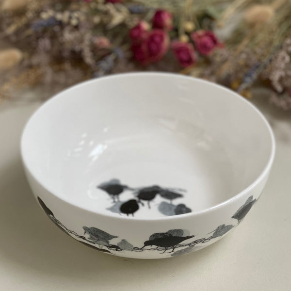 BOWL: redshank design on a bone china coupe bowl, limited edition