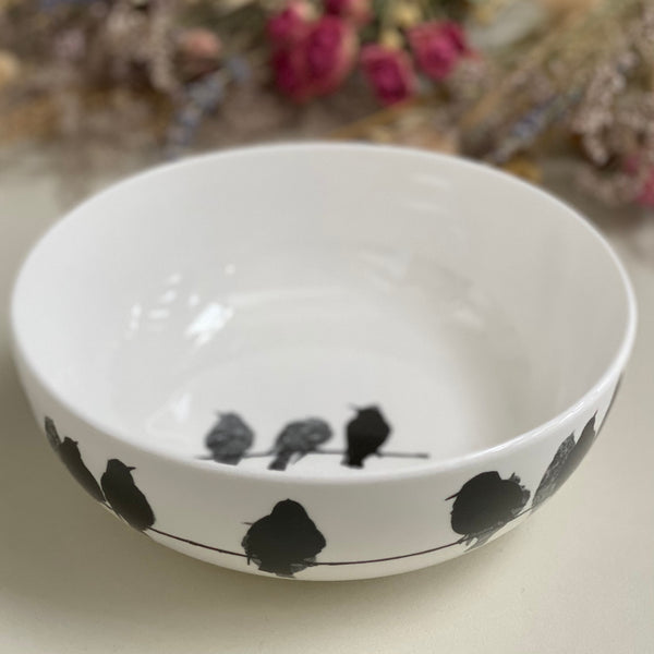 BOWL: starlings design on a bone china coupe bowl, limited edition