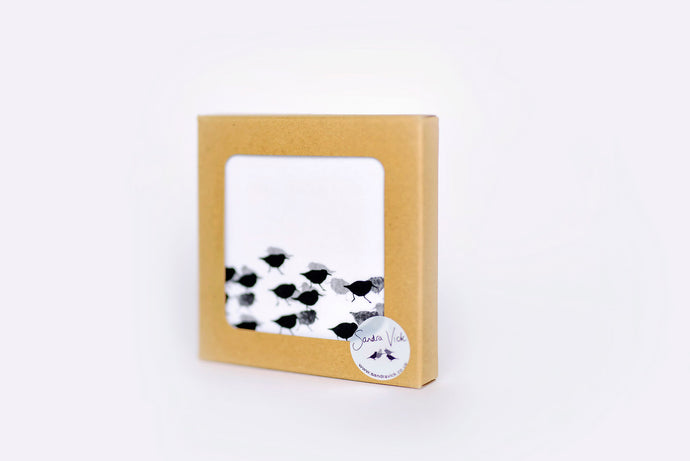 COASTERS seacliff designs, set of 4  - oystercatcher, redshanks, Sanderlings, godwits