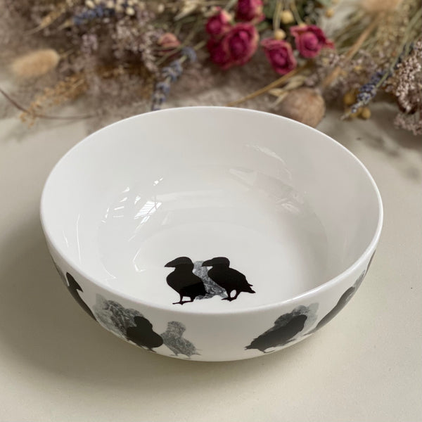 BOWL: PUFFIN design on a bone china coupe bowl, limited edition