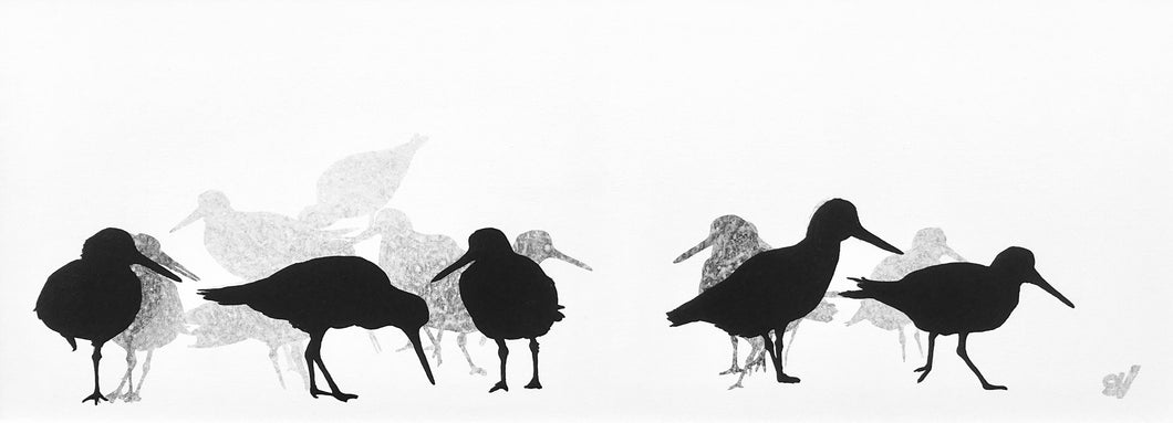 PAINTING: oystercatchers 80x30cm
