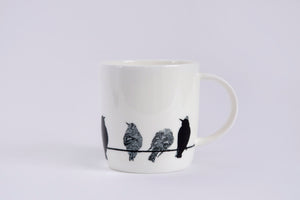 BARREL MUG: STARLING bone china bird mug